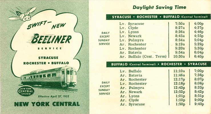 New York Central Beeliner Timetable