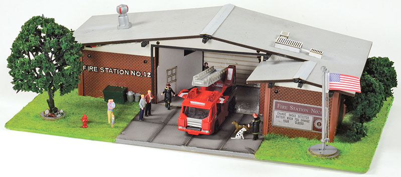 Where There's Smoke… Built-Up Fire Station from Menards in HO and O