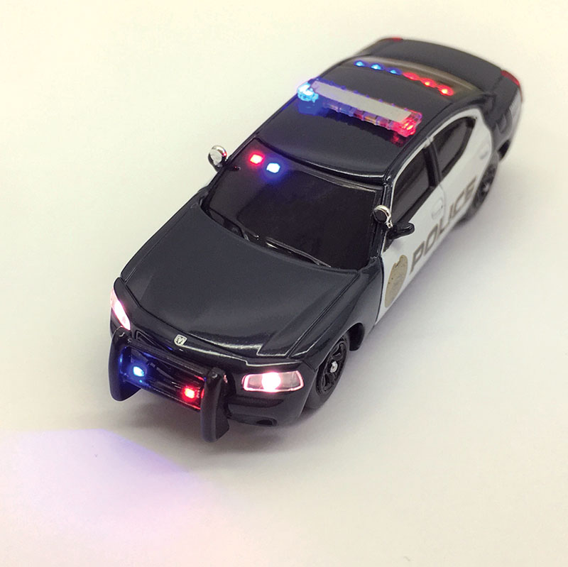 East Coast Circuits' Custom Lighted Dodge Chargers in HO