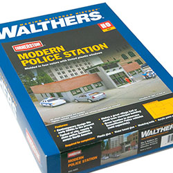 Modern Police Station from Walthers Cornerstone in HO scale